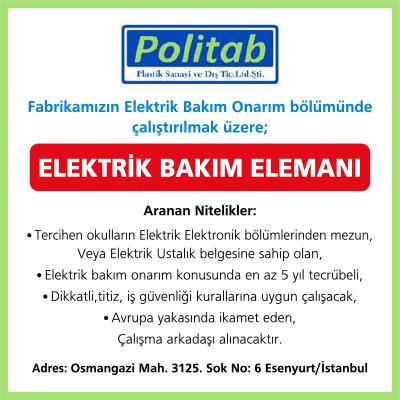 Fabrikamızın Elektrik Bakım Onarım bölümünde çalıştırılmak üzere Elektrik Bakım Elemanı aranıyor.